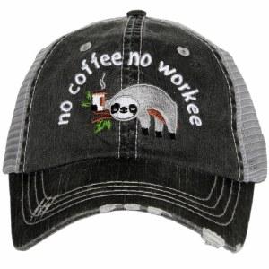 KATYDID No Coffee No Workee Sloth Trucker Hat One Size Grey