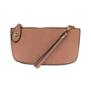 Joy Susan Faux Linen Crossbody Wristlet Clutch  Pink