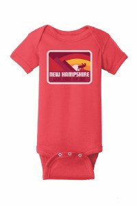 Woods & Sea New Hampshire Moose & Mountain Onesie 18 Months  Red