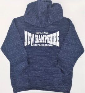 Luba Designs Live Free or Die, New Hampshire Hoodie L Navy