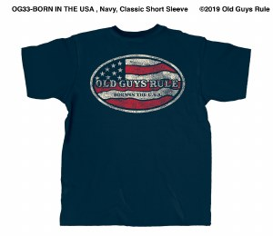 Old Guys Rule Born In The USA S/S Tee L Navy