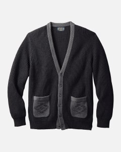 Pendleton Cotton Novelty Cardigan L Black/Grey