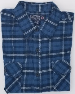 Northern Expedition Outback Brawney Flannel Shirt Medium Blue Plaid