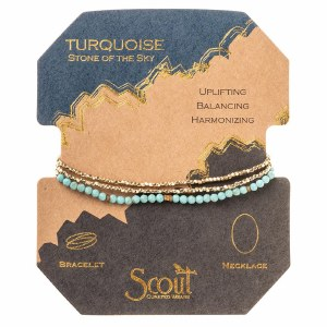 Scout Currated Wears Delicate Stone Wrap Bracelet/Necklace SDW Turquoise/Gold