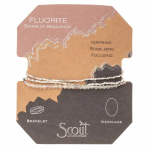 Scout Currated Wears Delicate Stone Wrap Bracelet/Necklace SDW Fluorite/Silver