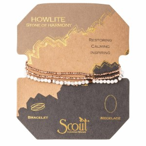 Scout Currated Wears Delicate Stone Wrap Bracelet/Necklace SDW Howlite/Rose Gold