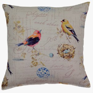 Creative Home Furnishings Songbird Pillow 17x17 Pastel