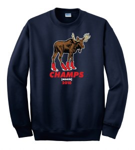 Woods & Sea Sox Moose Champs (Again) Sweatshirt Large Navy