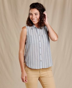 Toad & Co  Airbrush Sleeveless Deco Shirt L High Tide Uneven Stripe