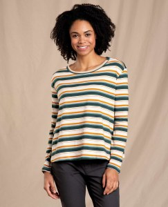 Toad & Co  Maisey Long Sleeve Swing Crew L Pine Grove Multi Stripe