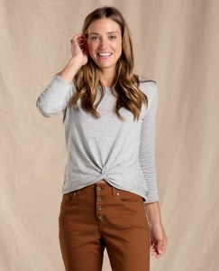 Toad & Co  Maisey 3/4 Sleeve Twist Top M Heather Grey