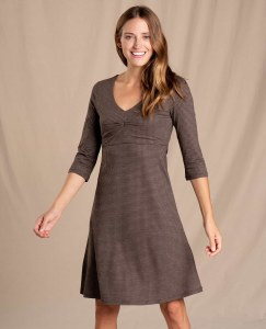 Toad & Co  Rosalinda Dress XS Chestnut Houndstooth Print