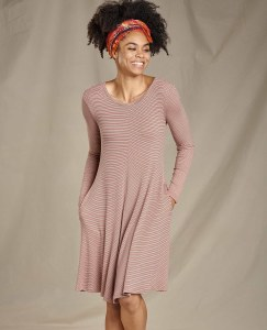 Toad & Co  Daisy Rib Long Sleeve Swing Dress Medium Rose Dawn Stripe