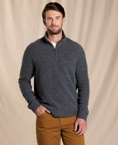 Toad & Co  Breithorn 1/4 Zip Sweater  L Charcoal Heather