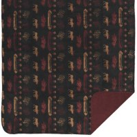 "Denali Denali Lake Microplush Throw 60""x70"" Black/Merlot"