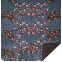 "Denali Moose Blossom American Dakota Microplush Throw 60""x70"" Blue/Taupe"