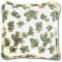 "Denali Winter Pine Cones Microplush Pillow 18""x18"" Pine"