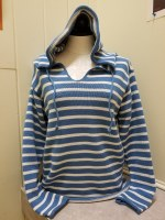 Binghamton Knitting Co Striped Hoodie Sweater Medium Denim/Natural