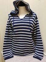 Binghamton Knitting Co Striped Hoodie Sweater Medium Navy/Natural