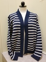 Binghamton Knitting Co Striped Open Cardigan Small Navy/Natural