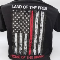 Pacific Art Land of the Free Firefighter S/S Tee Small Black
