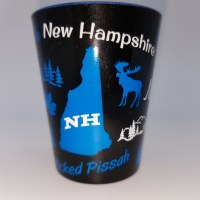 Eastern Illustrating New Hampshire Neon Shot Glass  Blue