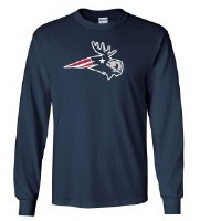 Woods & Sea Patriot Moose Adult L/S Tee Small Navy