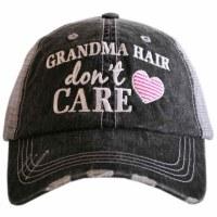 KATYDID Grandma Hair Don't Care Women's Trucker Cap One Size Grey/Hot Pink