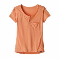 Patagonia Women's Capilene Cool Trail Bike Henley Small Peach Sherbet