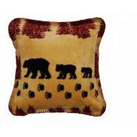 "Denali Wheat Denali Bear Microplush Pillow 18""x18"" Merlot"