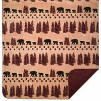 "Denali Wheat Denali Bear MicroplushThrow  60""x70"" Merlot"