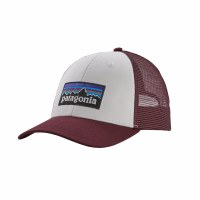Patagonia P-6 LoPro Trucker Cap One Size White w/ Dark Ruby