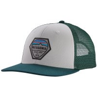 Patagonia Fitz Roy Hex Trucker Hat OS White W/ Piki Green