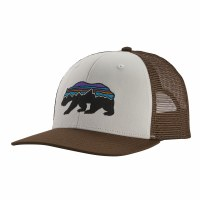 Patagonia Fitz Roy Bear Trucker Hat OS White W/ Bristle Brown