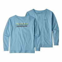 Patagonia Women's Long-Sleeved Pastel P-6 Logo Responsibili-Tee Small Break Up Blue
