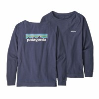 Patagonia Women's Long-Sleeved Pastel P-6 Logo Responsibili-Tee Small Dolomite Blue