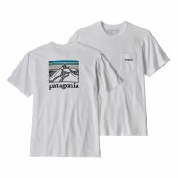 Patagonia Men's Line Logo Ridge Pocket Responsibili-Tee Large White