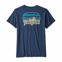 Patagonia W's Fitz Roy Far Out Organic Cotton Crew Pocket T-Shirt M Stone Blue