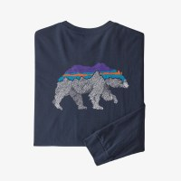 Patagonia Men's Long-Sleeved Back for Good Organic Cotton T-Shirt S New Navy w/Bear