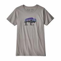 Patagonia Women's Fitz Roy Bison Organic Crew T-Shirt Medium Feather Grey