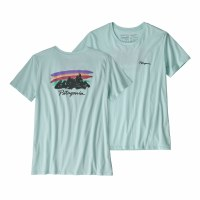 Patagonia Women's Free Hand Fitz Roy Organic Cotton T-Shirt X-Small Atoll Blue