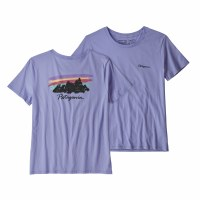 Patagonia Women's Free Hand Fitz Roy Organic Cotton T-Shirt X-Small Light Violet Blue