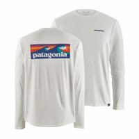 Patagonia Men's Long-Sleeved Capilene Cool Daily Graphic Shirt S Board Shirt Logo: White