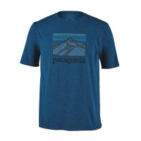 Patagonia Men's Capilene Cool Daily Graphic Shirt Medium Line Logo Ridge: Big Sur Blue X-Dye