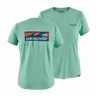 Patagonia Women's Capilene Cool Daily Graphic Shirt Small Boardshort Logo: Vjosa Green X-Dye