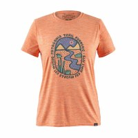 Patagonia Women's Capilene Cool Daily Graphic Shirt Small Dream Led: Peach Sherbert X-Dye