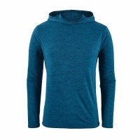 Patagonia Men's Capilene Cool Daily Hoody Large Big Sur Blue - Classic Navy X-Dye