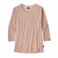 Patagonia Women's Mainstay 3/4-Sleeved Top Small Double Dipper: Flora Pink