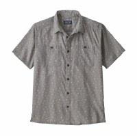 Patagonia M's Back Step Shirt S Guava Floral Toss: Salt Grey