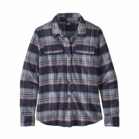 Patagonia Women's Long-Sleeved Fjord Flannel Shirt XS Cabin Time Smolder Blue